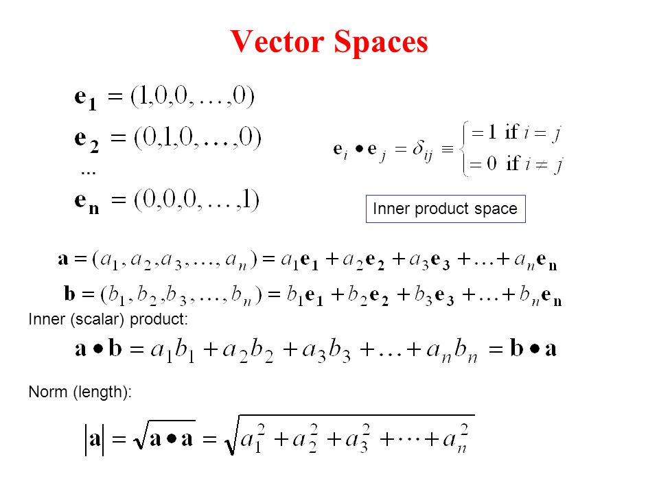 Vector Spaces … Inner product space Inner (scalar) product: