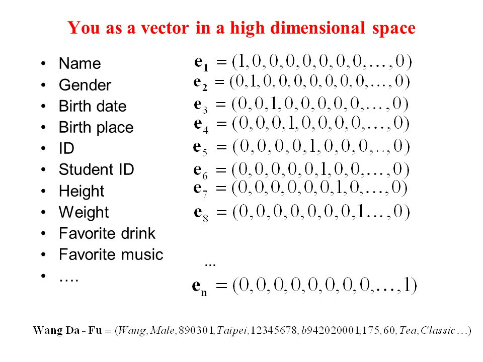 You as a vector in a high dimensional space