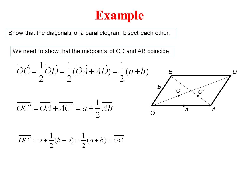 Example Show that the diagonals of a parallelogram bisect each other.