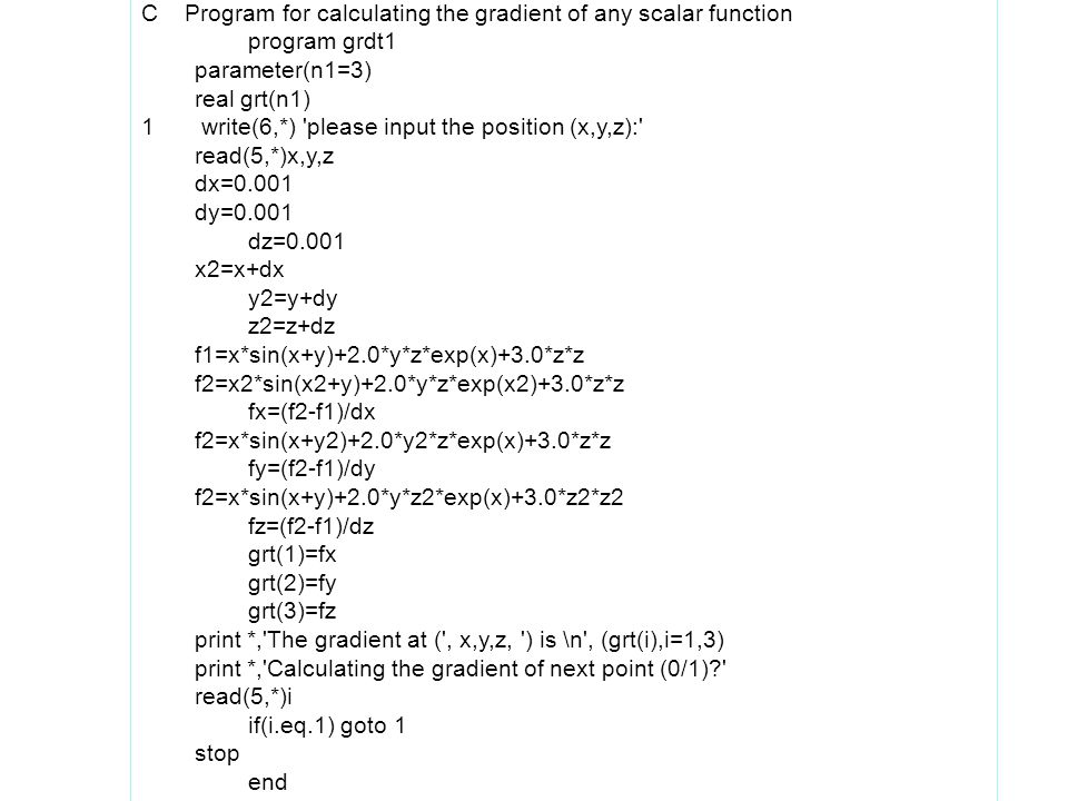 C Program for calculating the gradient of any scalar function