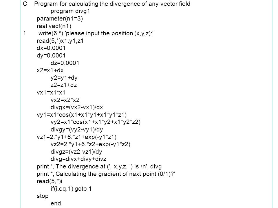 C Program for calculating the divergence of any vector field