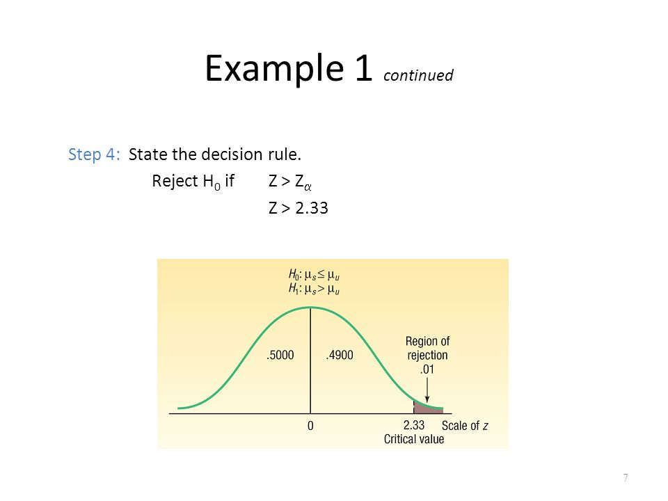 Example 1 continued Step 4: State the decision rule.