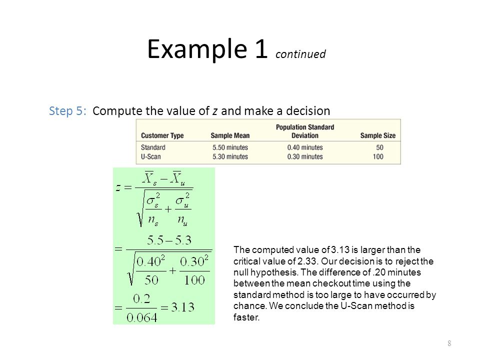 Example 1 continued Step 5: Compute the value of z and make a decision