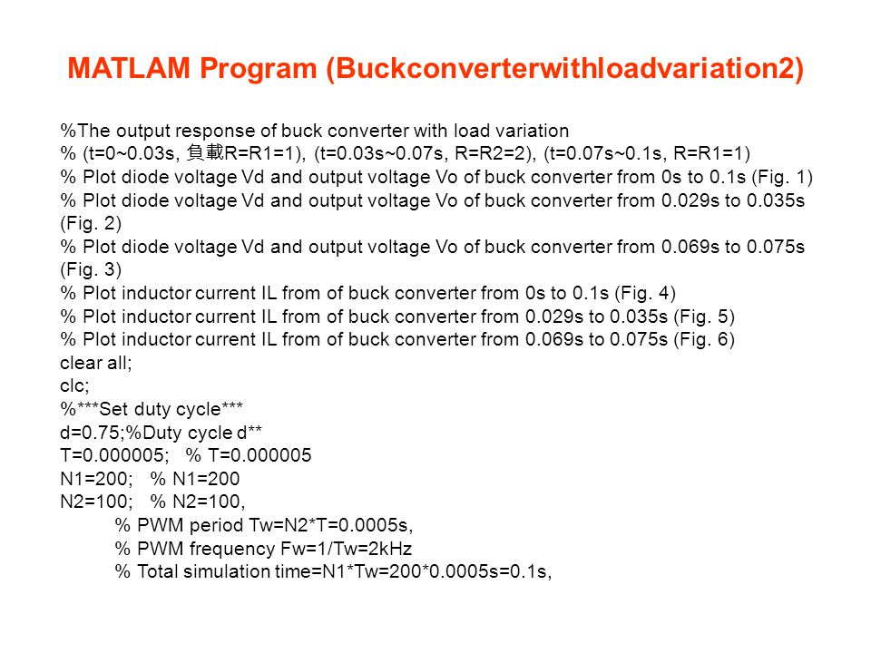 MATLAM Program (Buckconverterwithloadvariation2)