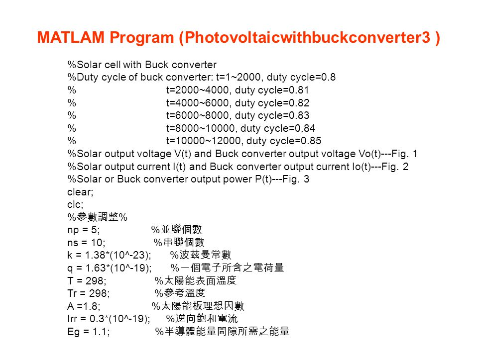 MATLAM Program (Photovoltaicwithbuckconverter3 )