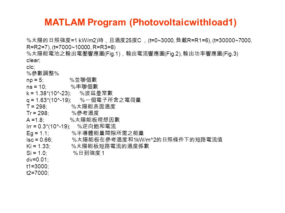 MATLAM Program (Photovoltaicwithload1)