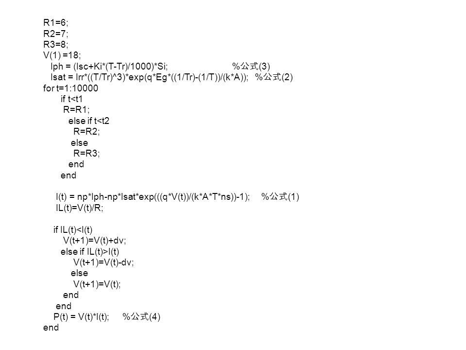 R1=6; R2=7; R3=8; V(1) =18; Iph = (Isc+Ki*(T-Tr)/1000)*Si; %公式(3)