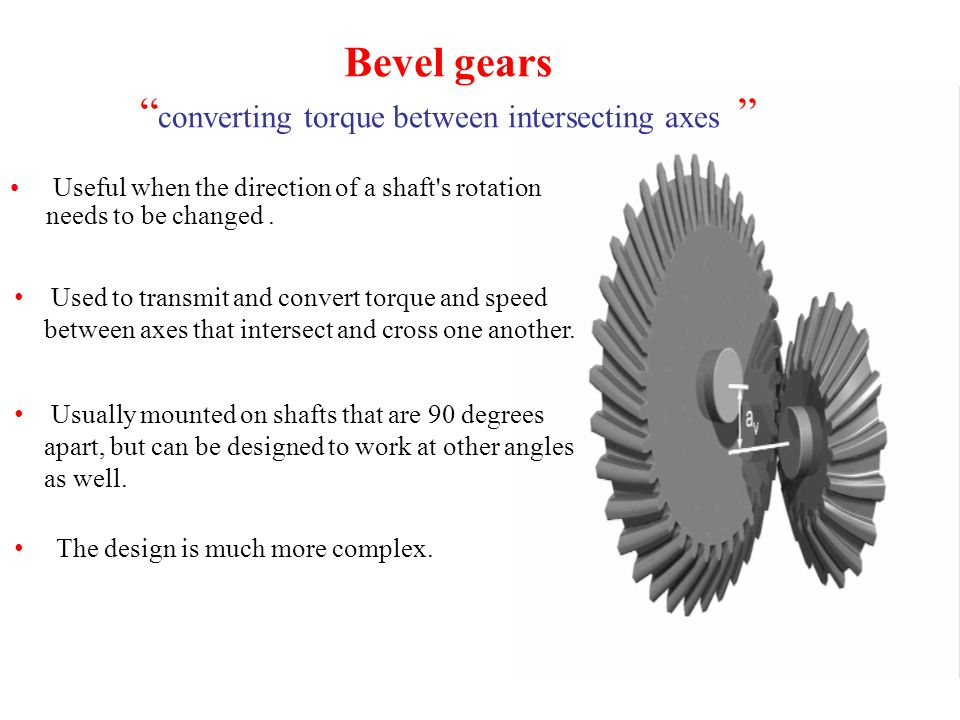 Bevel gears converting torque between intersecting axes