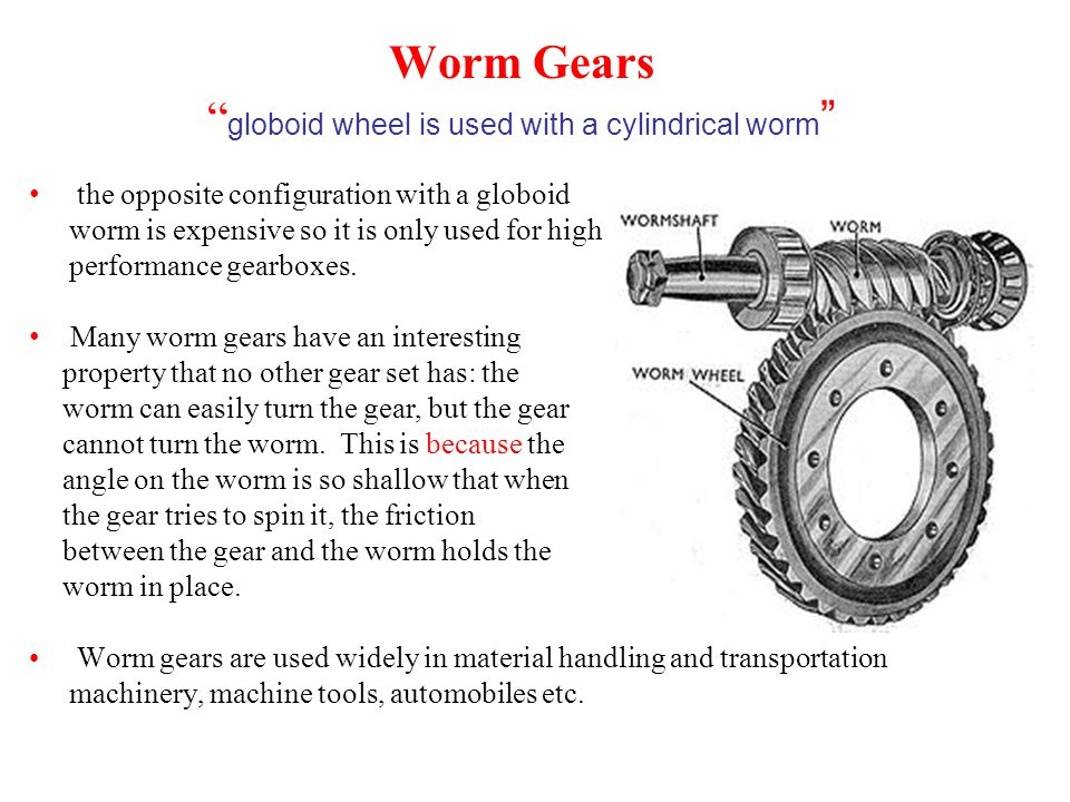 Worm Gears globoid wheel is used with a cylindrical worm