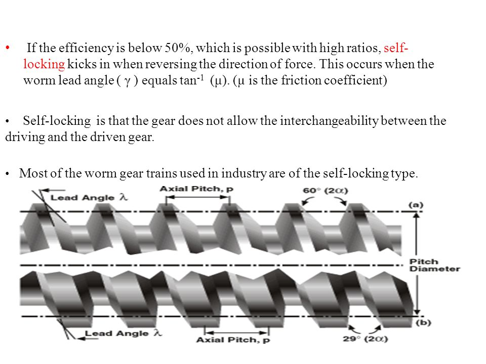 If the efficiency is below 50%, which is possible with high ratios, self-locking kicks in when reversing the direction of force. This occurs when the worm lead angle ( γ ) equals tan-1 (μ). (µ is the friction coefficient)