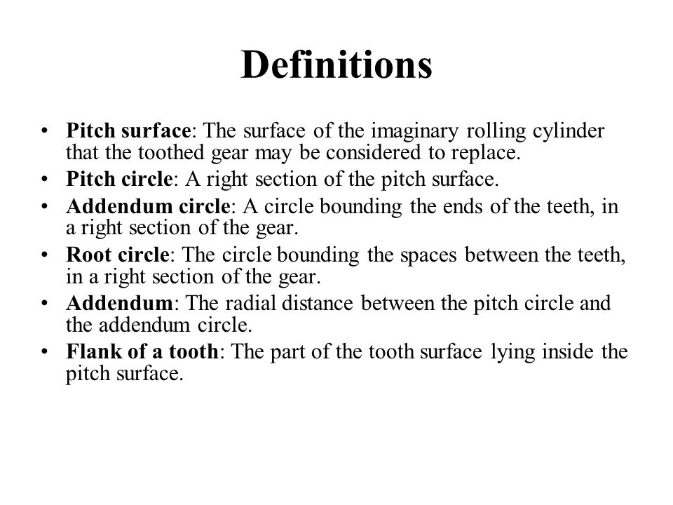Definitions Pitch surface: The surface of the imaginary rolling cylinder that the toothed gear may be considered to replace.