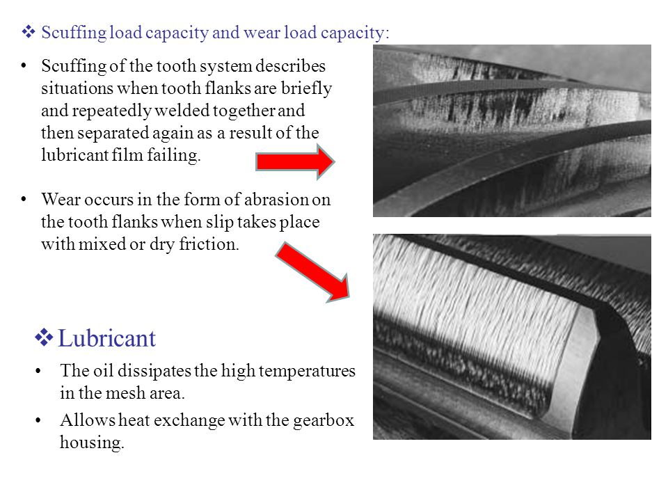 Lubricant Scuffing load capacity and wear load capacity: