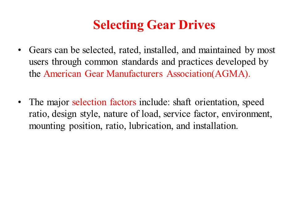 Selecting Gear Drives