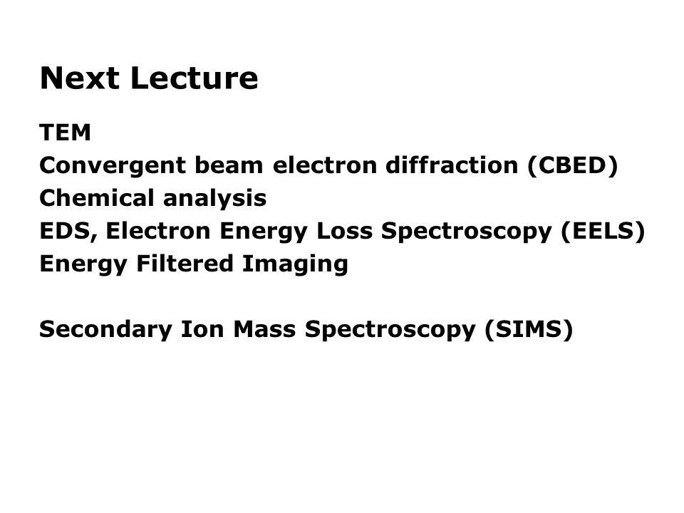 Next Lecture TEM Convergent beam electron diffraction (CBED)
