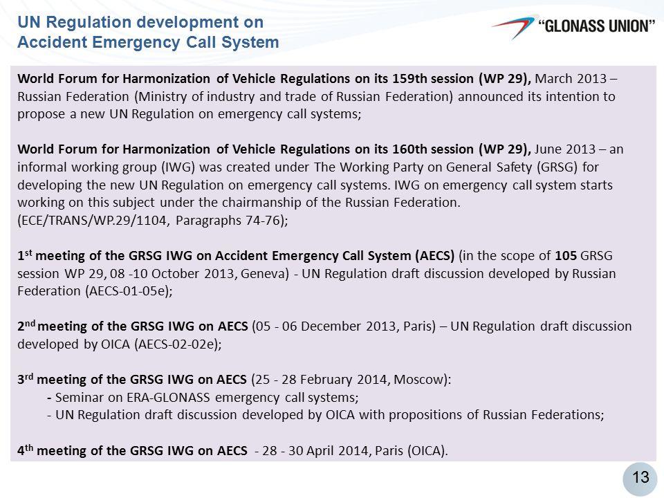 MVNO 90% UN Regulation development on Accident Emergency Call System