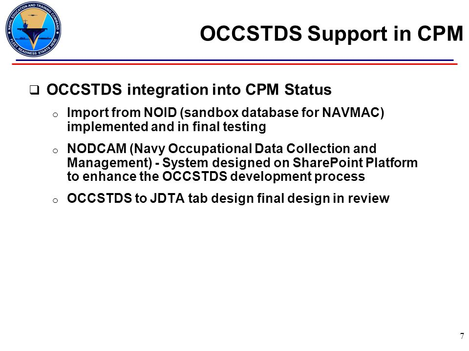 OCCSTDS Support in CPM OCCSTDS integration into CPM Status