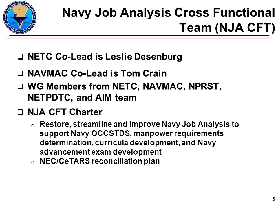 Navy Job Analysis Cross Functional Team (NJA CFT)