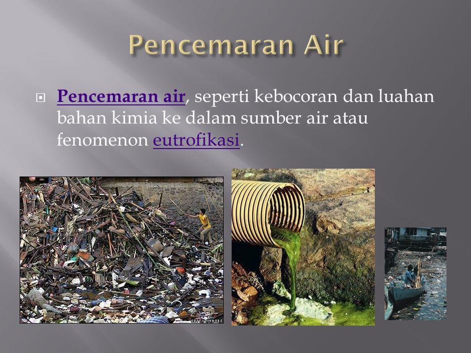 Pencemaran Air Pencemaran air, seperti kebocoran dan luahan bahan kimia ke dalam sumber air atau fenomenon eutrofikasi.