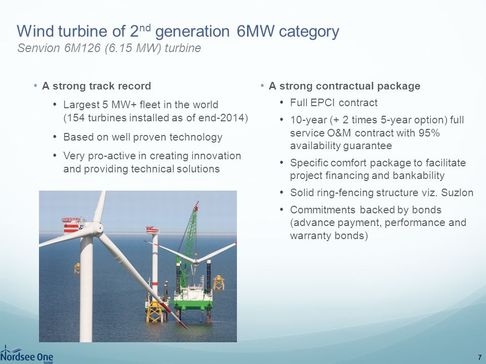Wind turbine of 2nd generation 6MW category Senvion 6M126 (6