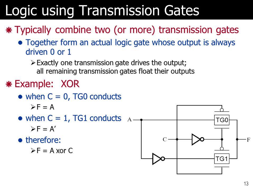 Logic using Transmission Gates