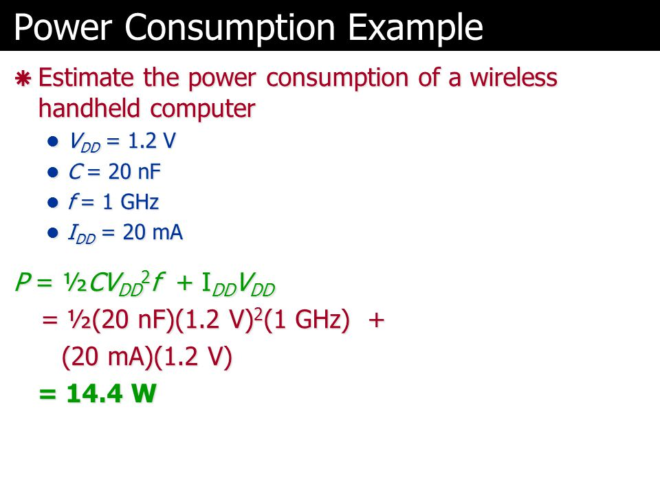 Power Consumption Example