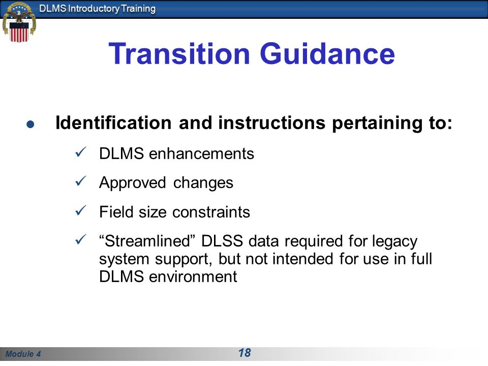Transition Guidance Identification and instructions pertaining to: