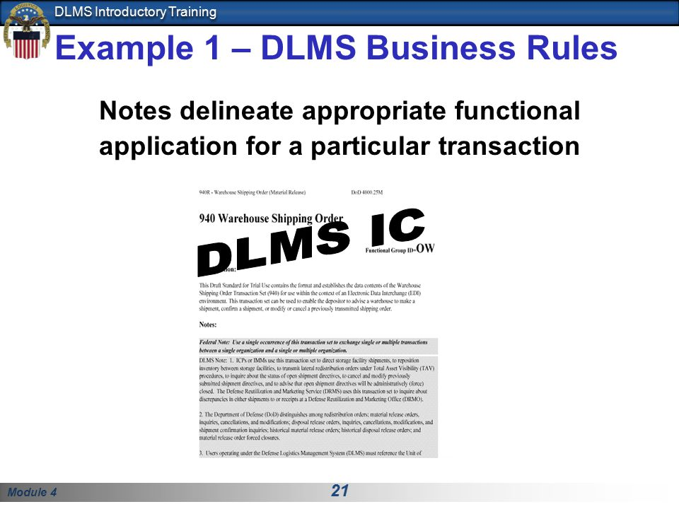 Example 1 – DLMS Business Rules