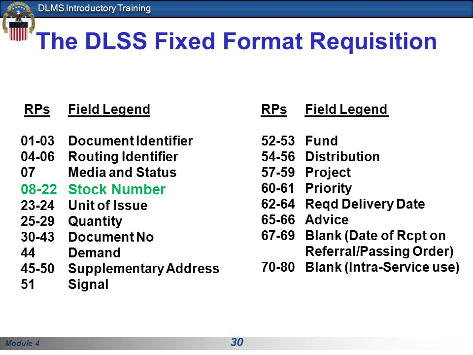 The DLSS Fixed Format Requisition