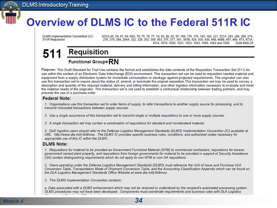 Overview of DLMS IC to the Federal 511R IC