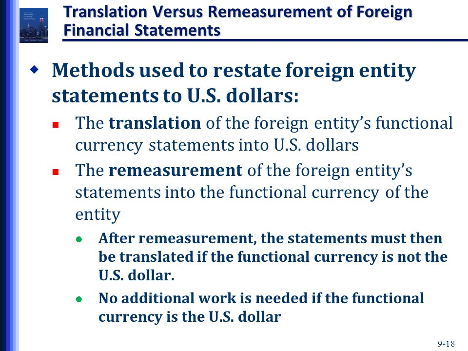 Translation Versus Remeasurement of Foreign Financial Statements