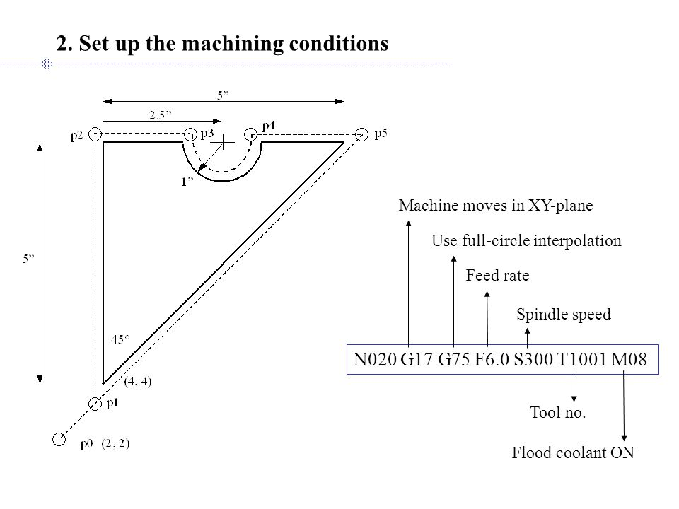 2. Set up the machining conditions