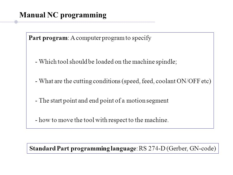 Manual NC programming Part program: A computer program to specify
