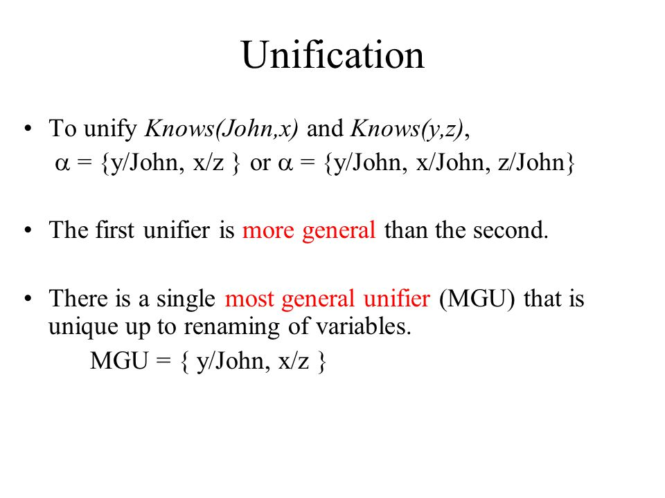 Unification To unify Knows(John,x) and Knows(y,z),