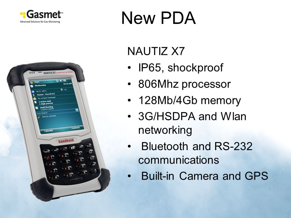 New PDA NAUTIZ X7 IP65, shockproof 806Mhz processor 128Mb/4Gb memory
