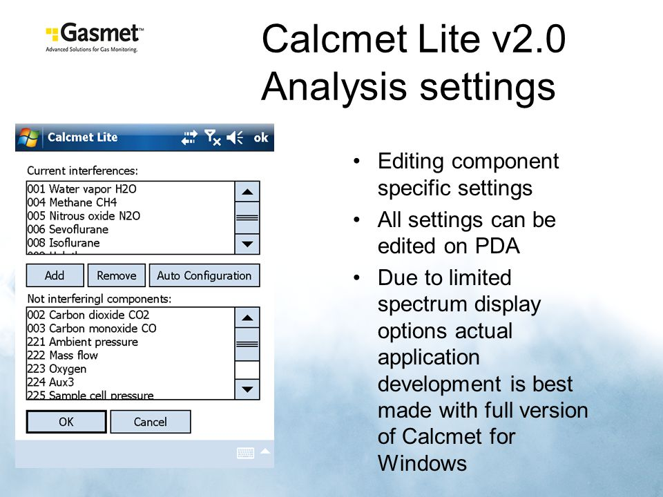Calcmet Lite v2.0 Analysis settings