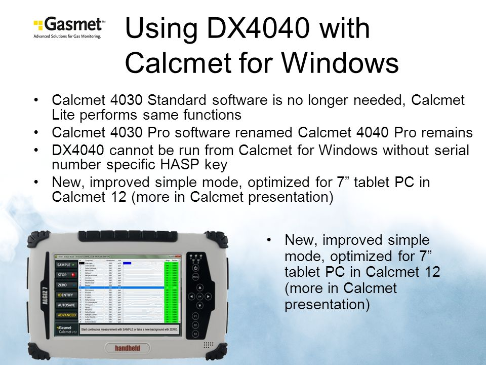 Using DX4040 with Calcmet for Windows