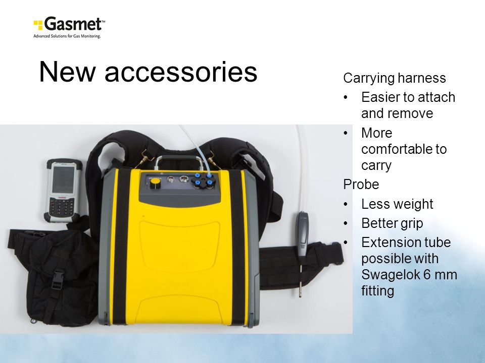 New accessories Carrying harness Easier to attach and remove