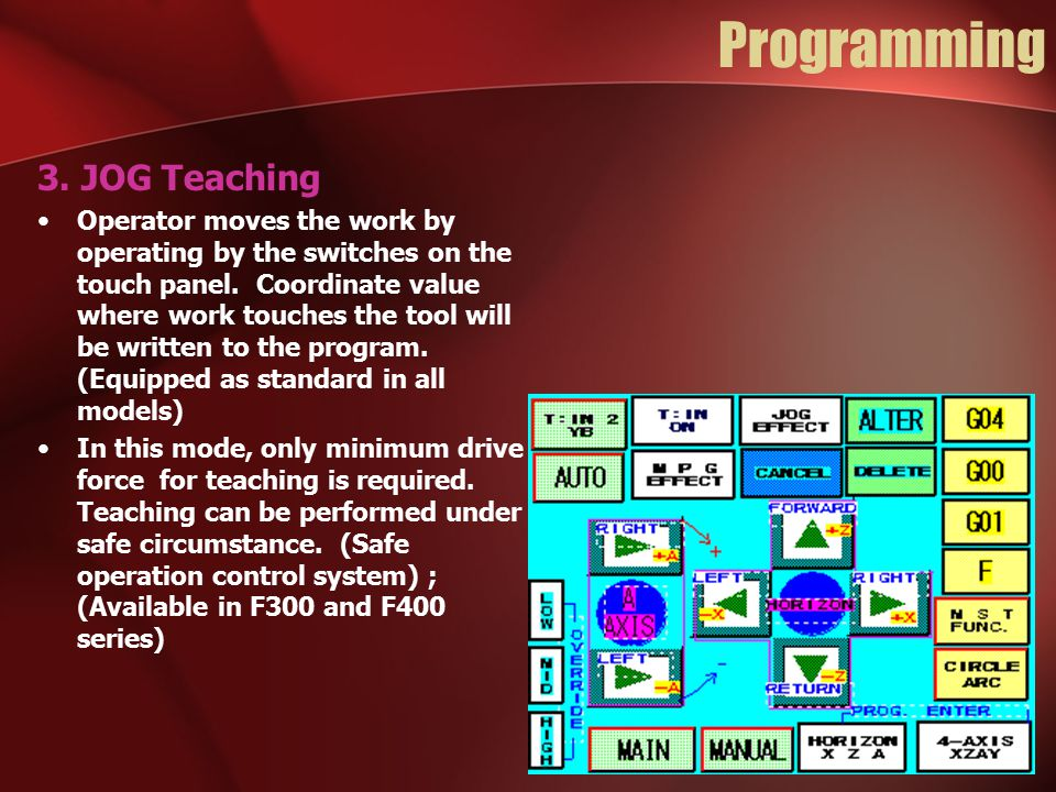 Programming 3. JOG Teaching