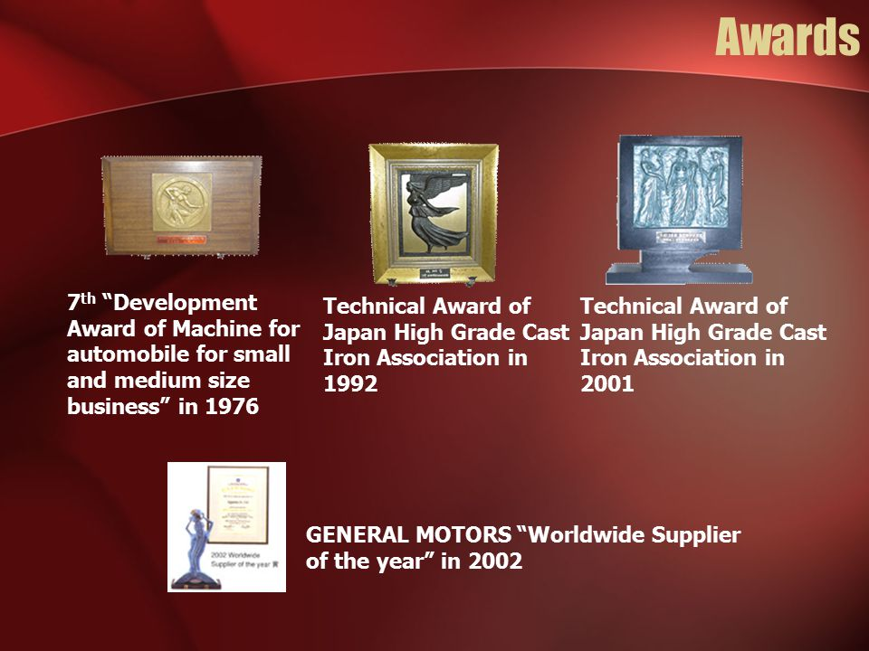 Awards 7th Development Award of Machine for automobile for small and medium size business in 1976.