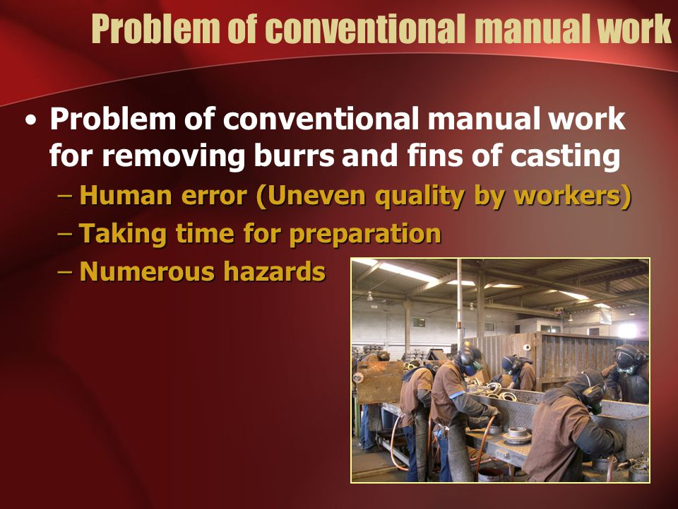 Problem of conventional manual work