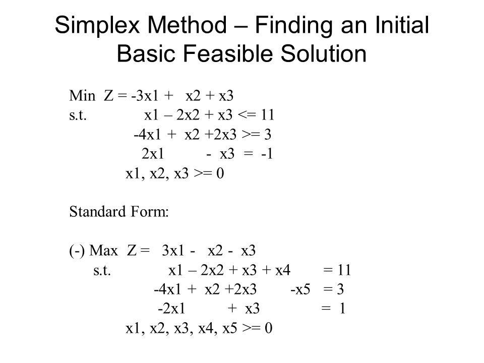 Simplex Method – Finding an Initial Basic Feasible Solution