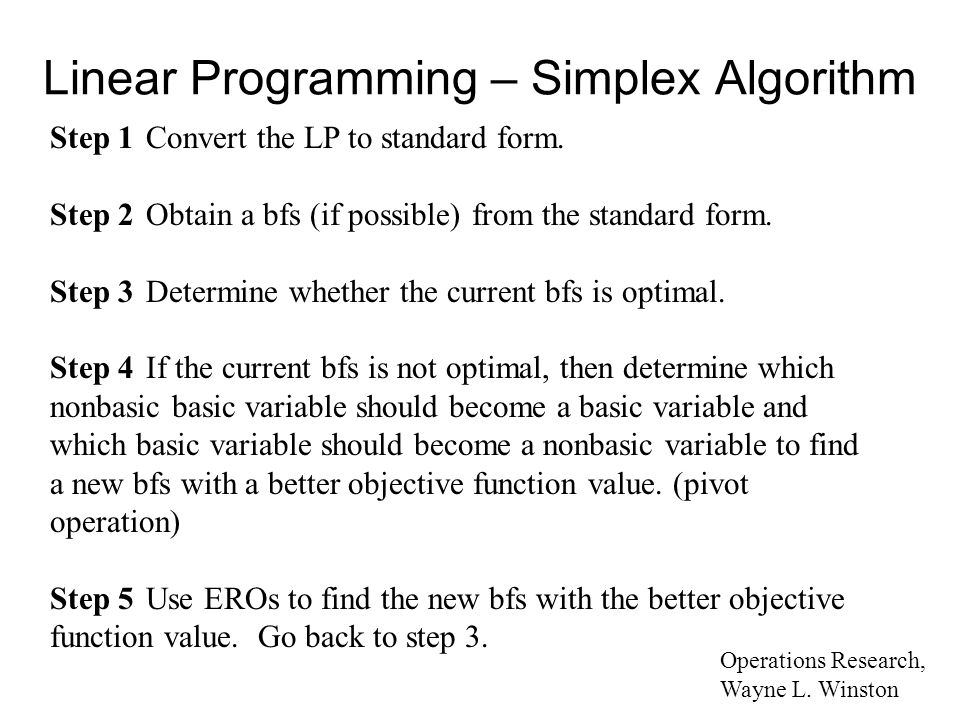 linear programming simplex method Chapter 7 the simplex metho d in this c hapter, y ou will learn ho w to solv e linear programs this will giv ey ou insigh ts in to what sol ver and other commercial linear programming soft.