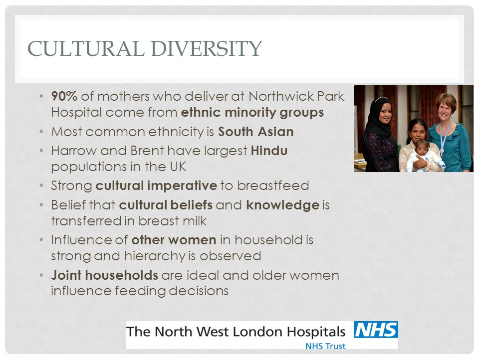 Cultural Diversity 90% of mothers who deliver at Northwick Park Hospital come from ethnic minority groups.