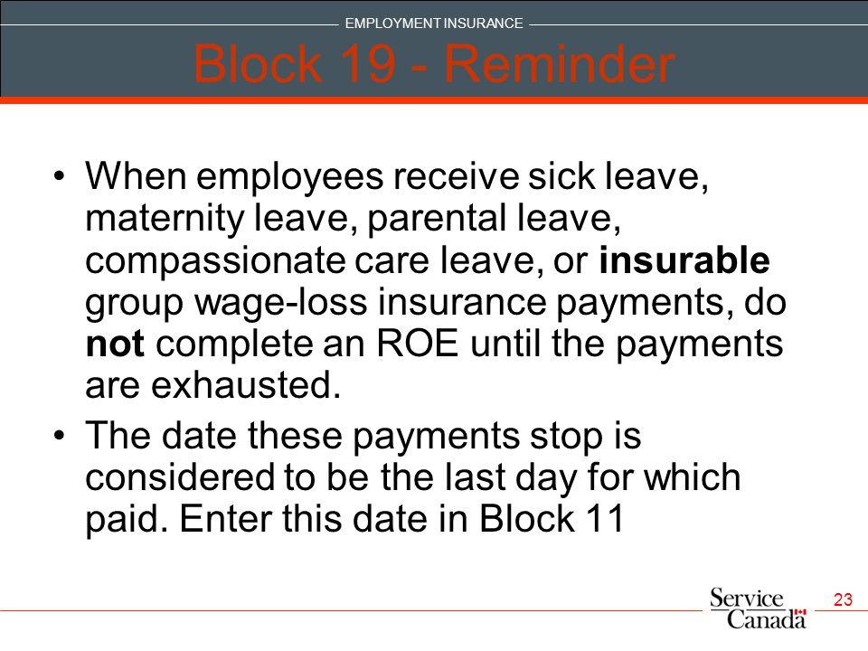 Block 19 - Reminder