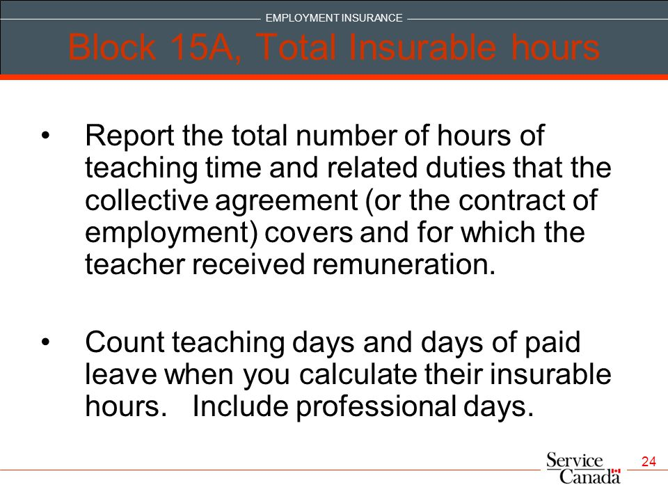 Block 15A, Total Insurable hours