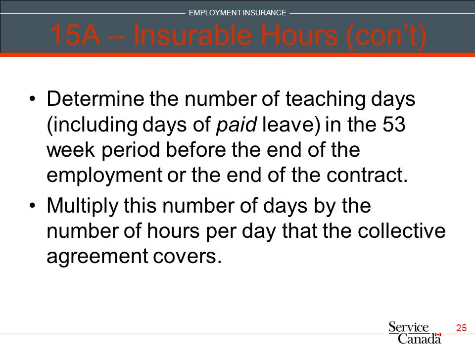 15A – Insurable Hours (con't)