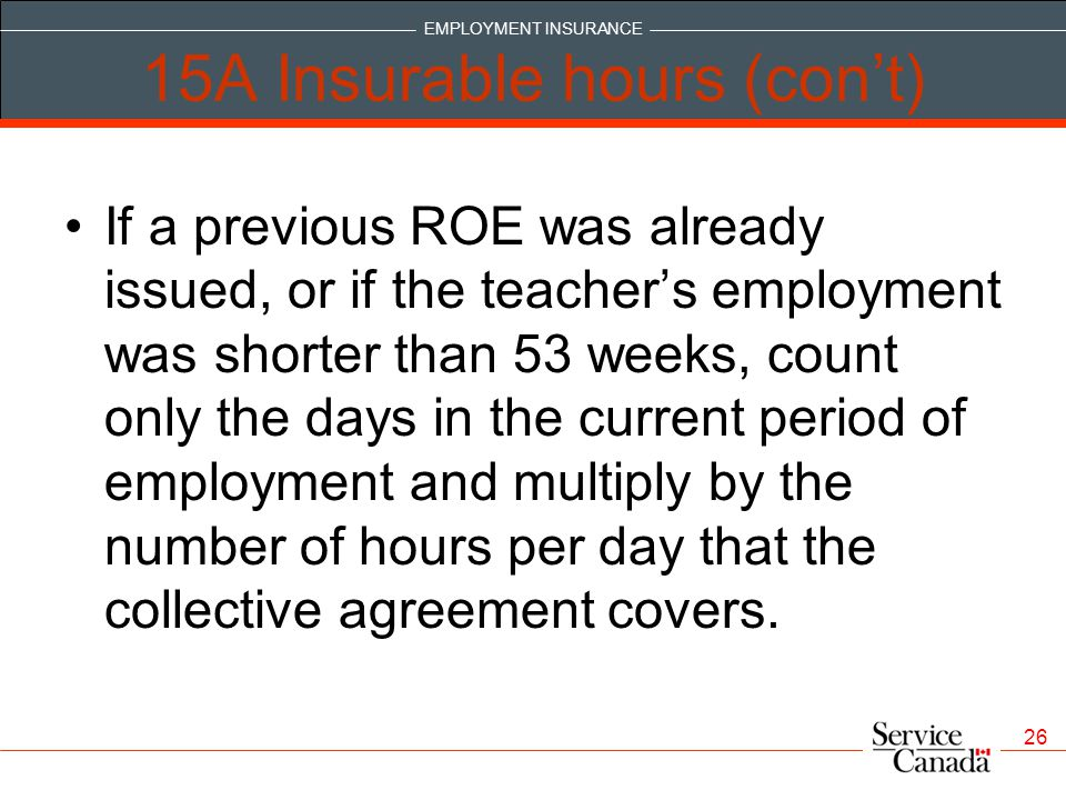 15A Insurable hours (con't)