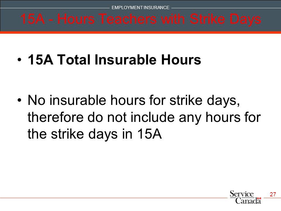 15A - Hours Teachers with Strike Days