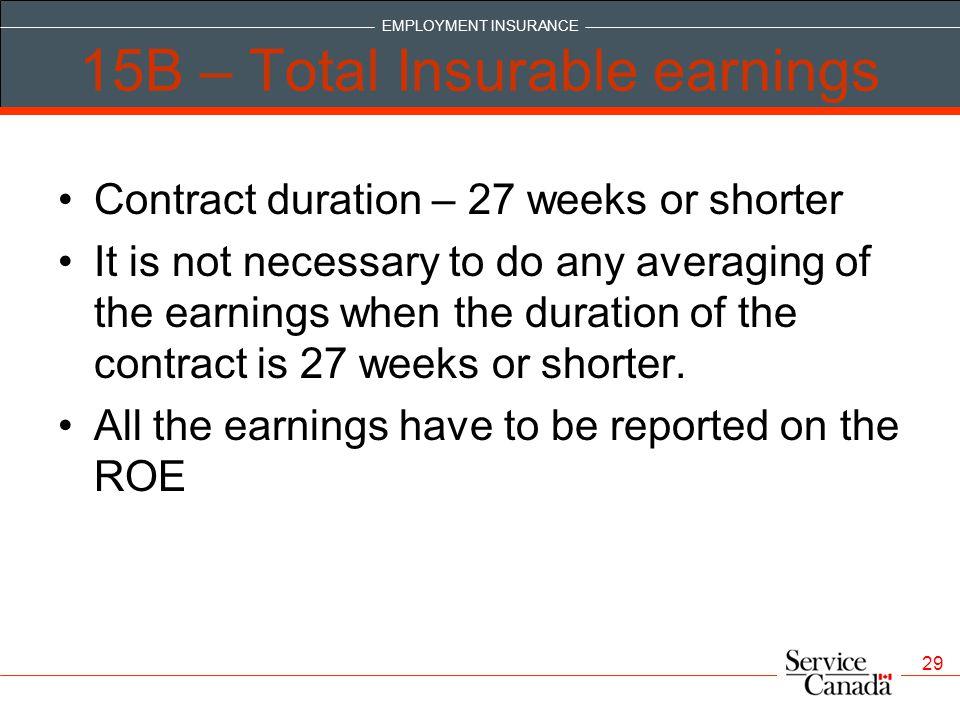 15B – Total Insurable earnings