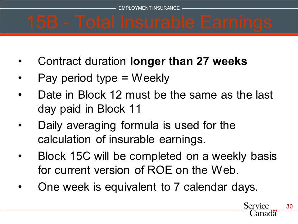 15B - Total Insurable Earnings